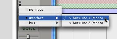 5 From the pop-up menu, select the interface input you want to record. For example, select Mic/Line 1 if your audio source is plugged into the Source 1 jack on the back of the Mbox.