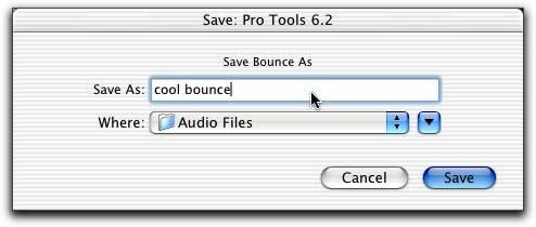 8 In the Bounce dialog, give the bounce tracks a name and choose where they should be saved. Save Bounce Dialog 9 Click Save. Pro Tools will begin bouncing to disk.