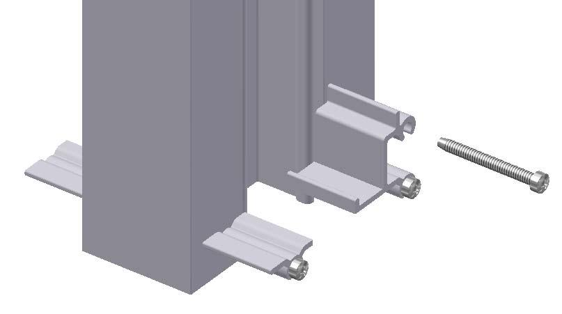 shown in the illustration below, and attach to the verticals with #10 x 1 3/4 Type B Phillips pan head