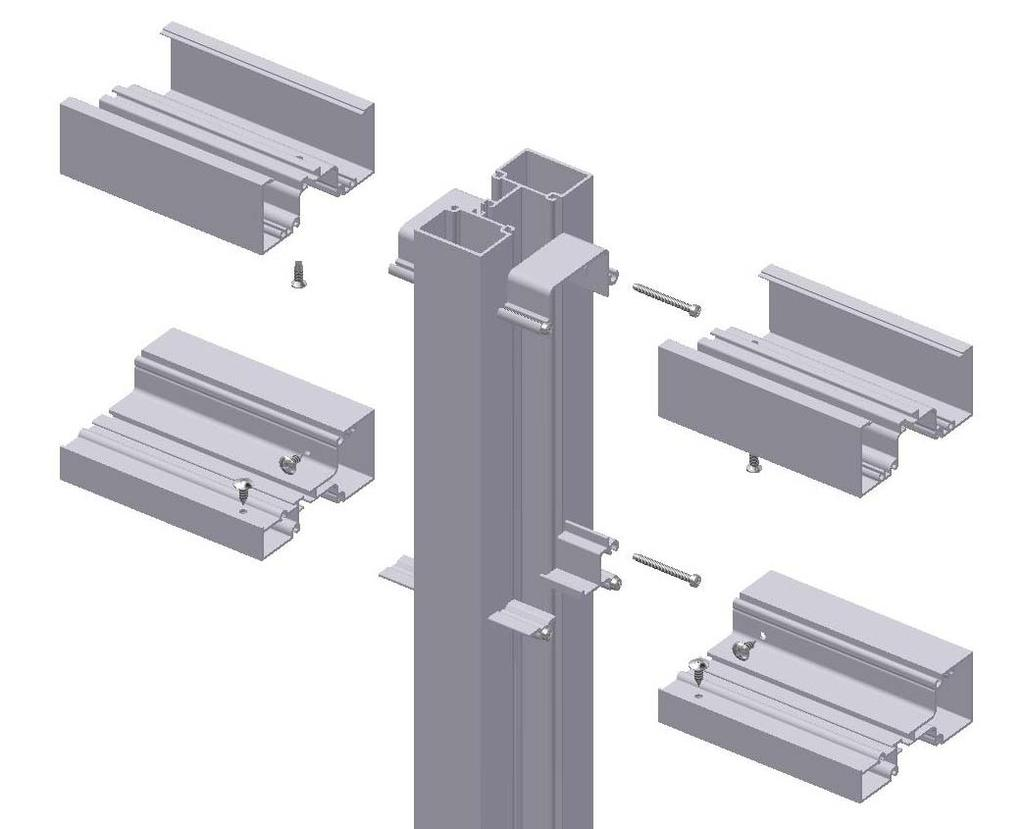 Step #4 (shear block only): Attach horizontals to frame clips Apply sealant to the contact edge of the horizontal, as shown in the illustration below.