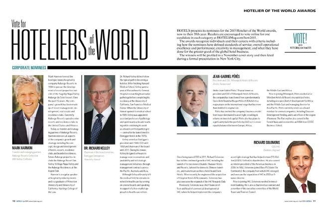 Dr. Richard Kelley nominated for Hotelier of the World award.