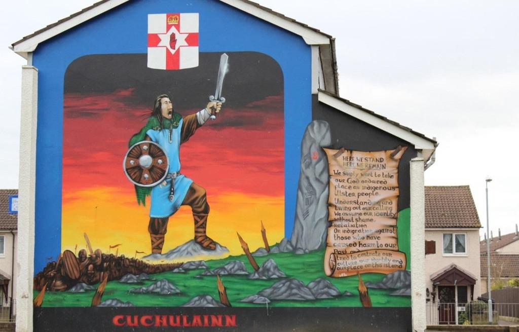 Foster 18 Figure 4: Cú Chulainn as a 'defender of Ulster' in Hopewell Crescent, Belfast Common historical elements that appear in republican murals today are symbols of the Easter Rising, the Famine,