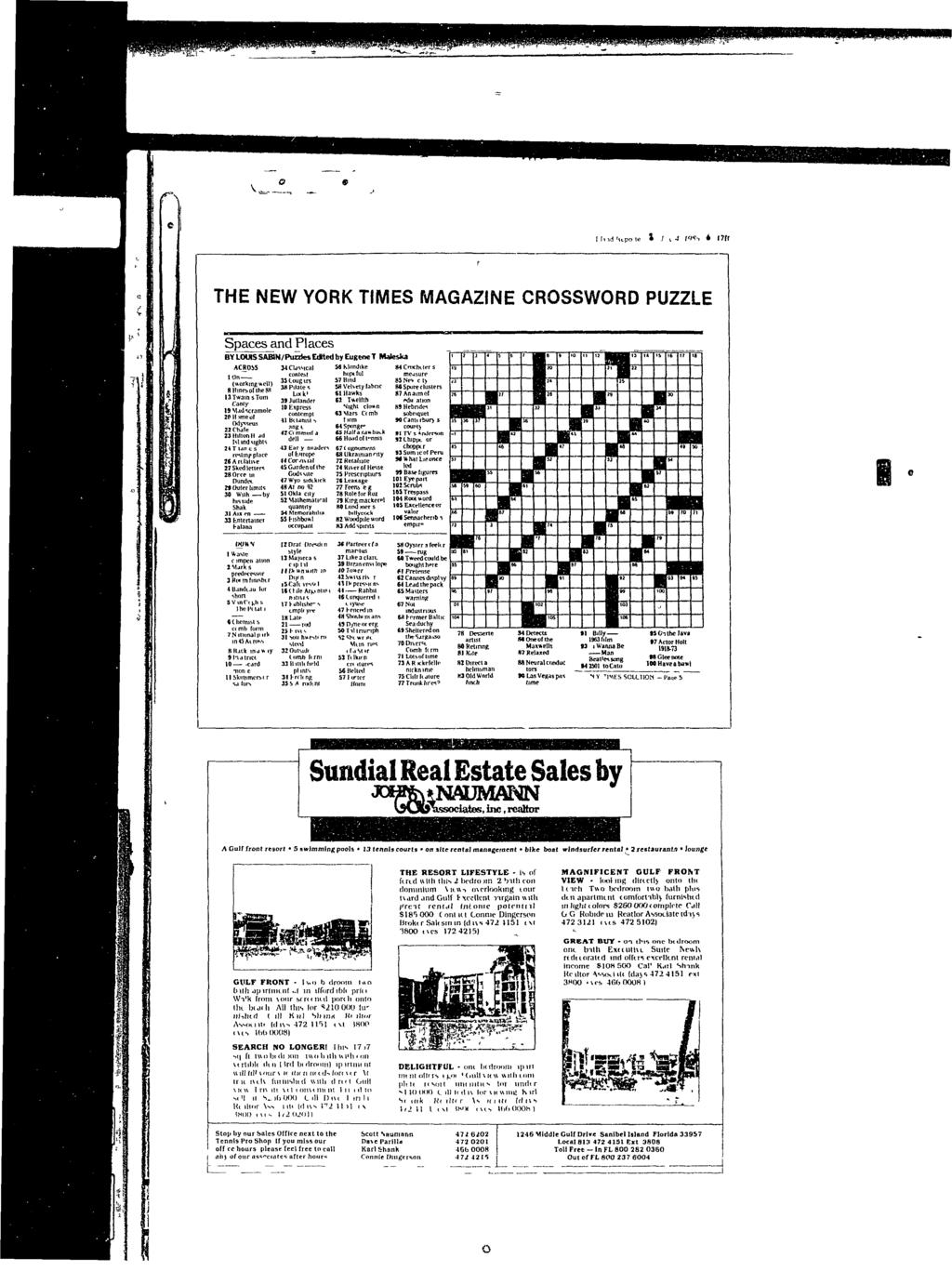 I 1,1 ill-, * 1711 THE NEW YORK TIMES MAGAZINE CROSSWORD PUZZLE Spaces and Places BY LOWS SABW/Puzztes Edfted by Eugene T Maleska ACROSS MCbsMca hopeful (working well) 35tougirs 57 Bind fthfhgs 38