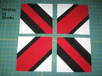 units each time to save time and thread. Layout 4 Trimmed Units as shown below, 2 of each type making an X.