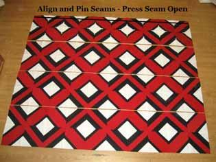 "Align and Pin all of your seams. Sew a 1/4"" seam along the edge. Then, place the third row onto the now sewn together first and second row, with right sides together."