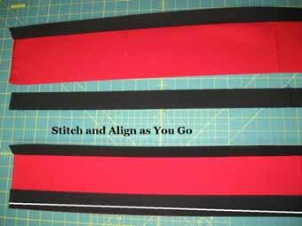 "Place the Black strip onto the Red Strip with right sides together and stitch a 1/4"" seam along"