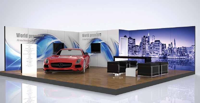 VECTA EXPO modular walls can be used as printed walls, video screens with front or back projection or backlit walls.