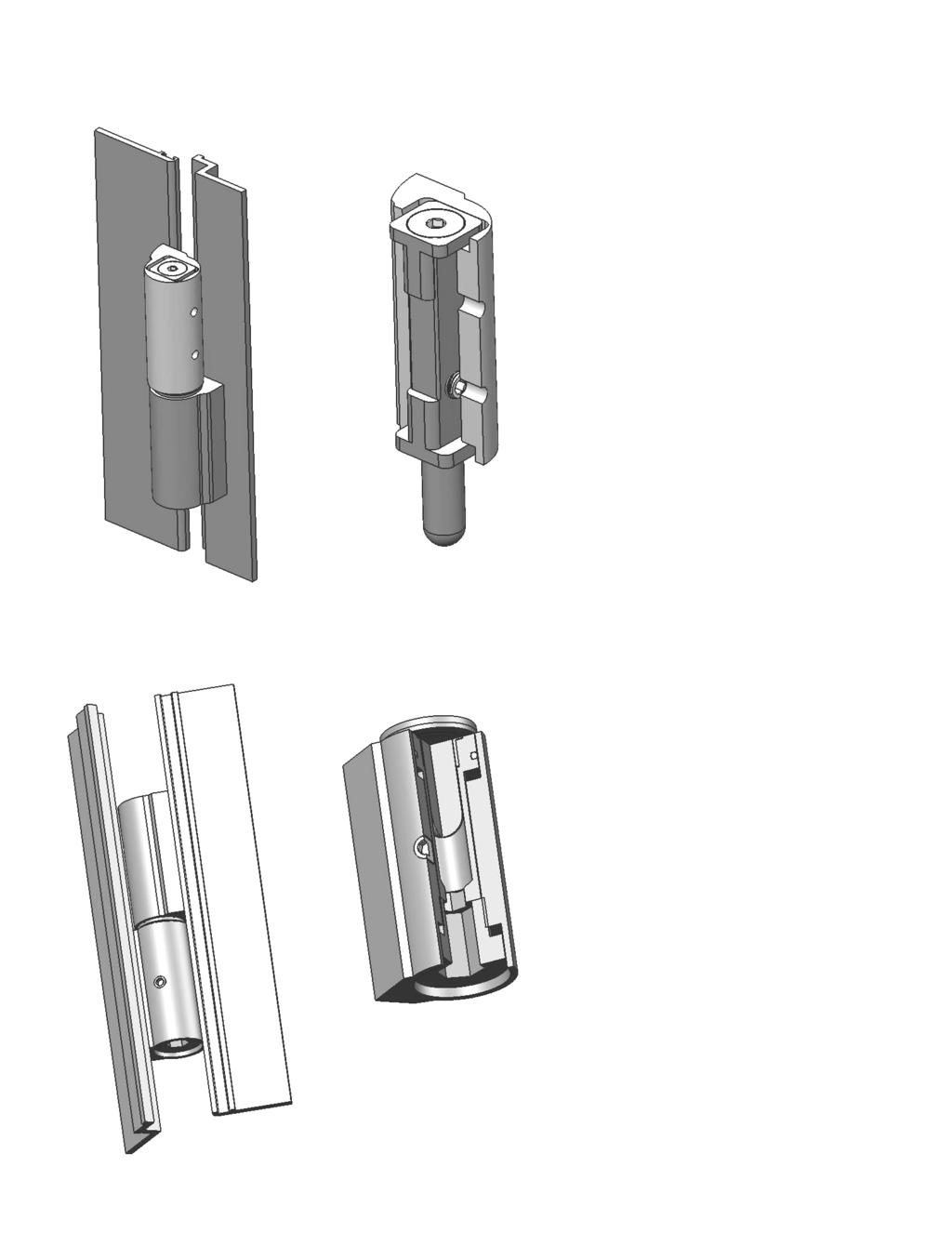 "OPTIONAL ADJUSTABLE HINGE LATERAL ADJUSTMENT 1. Use a 5/32"" Hex Wrench to loosen, but not remove, the Pin Screws on all hinges. 2. Using a 1/8"" Hex Wrench, adjust the Set Screw (+/-."