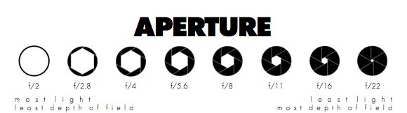 aperture is a set of leaf like pieces of metal that change size depending upon the amount of light you