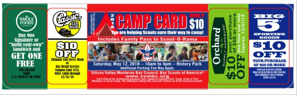 The Camp Card The Camp Card offers generous one-time discounts that make the sale of this card