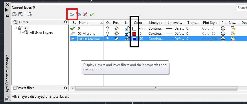 a. Click the boxes labeled color (in the black box) b. Exit the Layer dialog box 6.