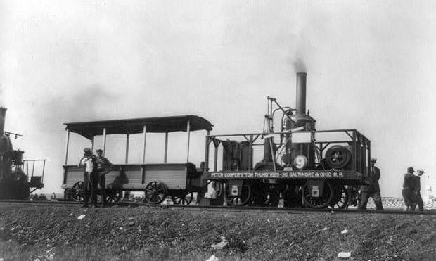 Peter Cooper raced his Tom Thumb locomotive against a horse in 1830, proving
