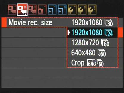 DSLR MOVIE MODE SETTINGS (1920 X1080 & FRAME RATES) DSLRs have different movie record settings to choose from: 1920 x 1080 25fps - This is the highest setting.