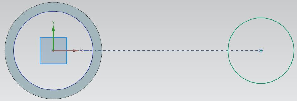 Draw a circle near the first one, with its centre located on the horizontal axis.