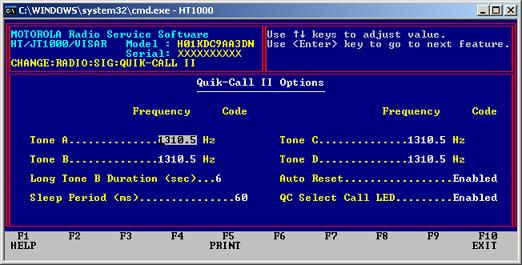 QUIK-CALL II OPTIONS QUIK CALL II TABLE FREQUENCY - The Frequency is displayed in Hertz (Hz). You may scroll through the frequencies by using the Up/Down Arrow Keys.