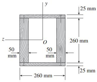 EXAMPLE 1-9 A box beam of wood is constructed of two (0 mm x 50 mm)