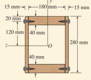 EXAMPLE 1-1 A wood box beam shown in the figure is constructed of two boards, each 180x0mm in cross section, that serve as