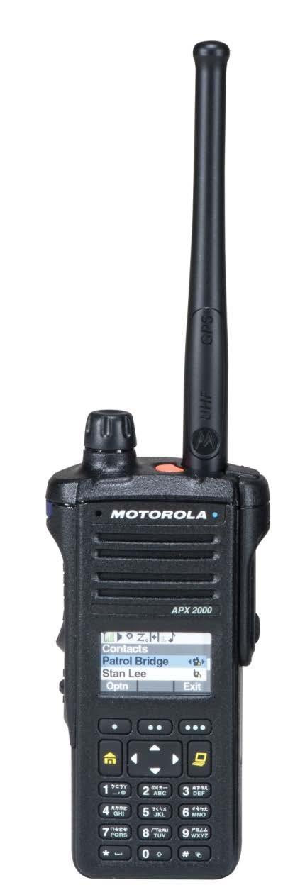 APX 2000 EQUIPPED WITH KEY FEATURES IN A COMPACT FORM FACTOR, THE APX 2000 P25 PORTABLE RADIO ALLOWS PUBLIC SAFETY AND UTILITY USERS TO COMMUNICATE EFFECTIVELY WITH FIRST RESPONDERS WHEN IT MATTERS