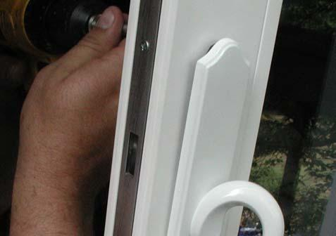 STEP 6: HANDLE INSTALLATION Attach the handles to the escutcheons so the curve of the handle is away from the side jamb and toward the glass.