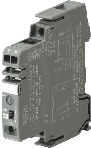 Electronic protection devices EPD24 Ordering details EPD24-TB-101-A 2CDC 051 001 S0010 The protection devices EPD24 extend the ABB product range of Modular DIN rail components by electronic