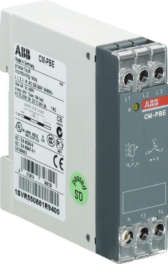Functions Operating controls 1 Indication of operational states R: yellow LED Relay status 1 2CDC 251 007 S0012 Application / operating mode The CM-PBE is designed for use in three-phase mains for