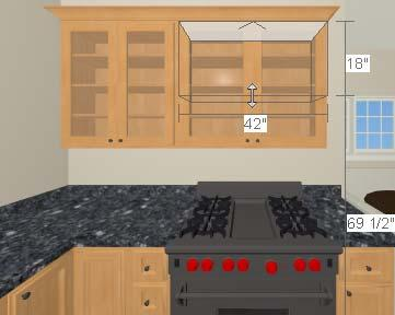 Home Designer Interiors 2019 User s Guide 3. When the temporary dimension indicates that the cabinet height is 18 inches, release the mouse button. To place a range hood 1.