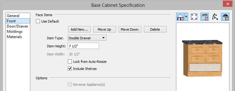 "Select the cabinet and click the Open Object edit button to open he Base Cabinet Specification dialog. 3. On the GENERAL panel, specify a Width of 33"" and a Depth of 27"". 4."