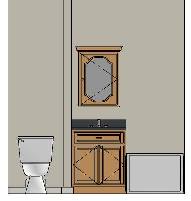 Dimensions can be added to objects displayed in Cross Section/Elevation views, including cabinetry.