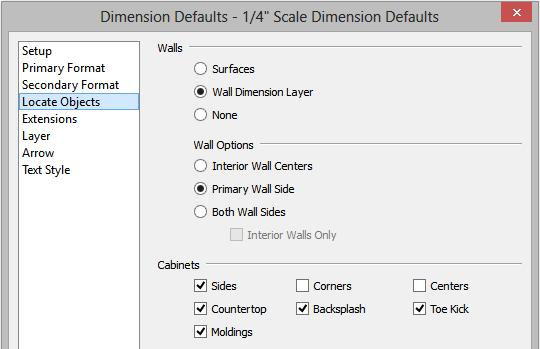 Chief Architect X8 User s Guide 2. With the Wall Elevation active, select Edit> Default Settings> Dimension> Dimensions and click on the Edit button to display the Saved Dimension Defaults dialog. 3.