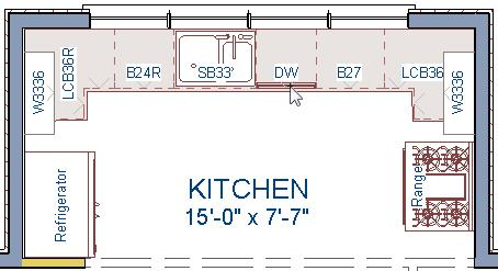 On the left side of the kitchen, click in the empty space below the base corner cabinet to place the refrigerator. 4.