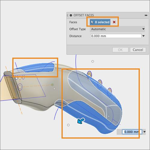 Step 11: Offset bodies with Press- Pull 1. Turn off visibility of Grip 1 and Grip 2. We re going to work on the 2 new grip bodies. 2. Right- click somewhere in canvas and select Press- Pull.