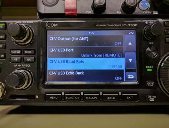 CI-V USB Baud Rate (7300 & 7851 only) The Baud Rate sets the CI-V data transfer rate when remotely controlling the radios through