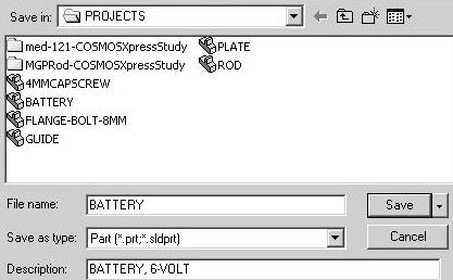 Click PART-IN- ANSI, [PART-MM-ISO] from the Template dialog box. Click OK. 9) Save the empty part. Click Save. Select ENGDESIGN-W- SOLIIDWORKS\ PROJECTS for Save in file folder.