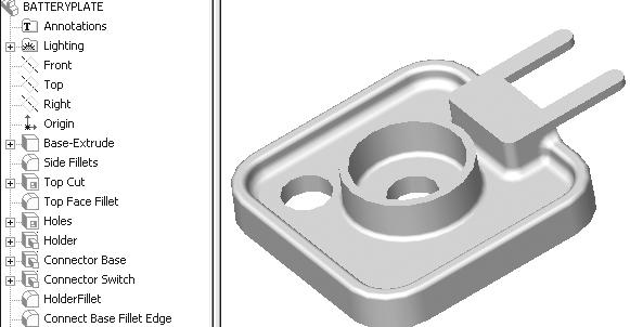 Engineering Design with SolidWorks The FeatureManager displays all successful feature name icons. The BATTERYPLATE is completed. LENS The LENS is a purchase part.