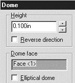 221) Click Insert from the Main menu. Click Features, Dome. The Dome dialog box is displayed. Enter.100, [2.54] for Height. Display the Dome. Click OK. 222) Save the BULB. Click Save.