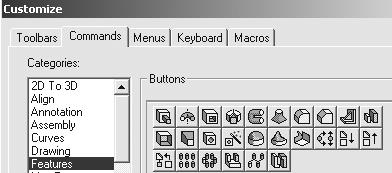 Engineering Design with SolidWorks Customizing Toolbars The default Toolbars contains numerous icons that represent basic functions.