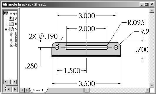 Engineering Design with SolidWorks Exercise 4.1d: ANGLE BRACKET Drawing. Create a new drawing named ANGLE BRACKET.