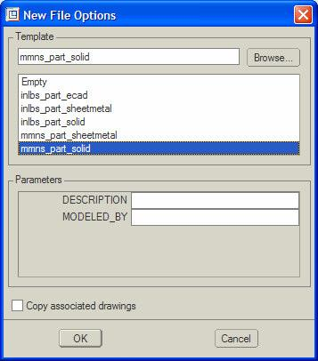 Figure 2: ProEngineer Main Window You will see the normal Windows features menus, toolbars, a main graphics area and on the left side a browser window. The next step is to create your first part.