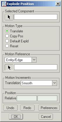 In the Explode tab choose EDIT > REDEFINE > POSITION to reposition the parts. The explode position dialog will be shown as in Figure 16.