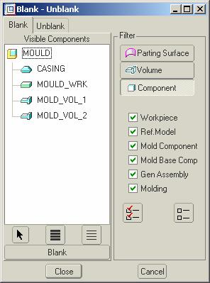The command structure for this is MOLD VOLUME > SPLIT or chose the icon then TWO VOLUMES ALL WRKPCS DONE. Now pick the split surface you just created then OK and OK on the dialog box.