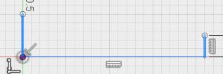 10. Use the line tool to draw a vertical line, starting at the center of the top plane, as illustrated below. While drawing this line, make sure it is longer than the other vertical line. 11.