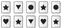 7. Corey is playing a game with cards. If she draws 2 cards at random, what is the probability of selecting 2 stars? 9. Jack is playing a game that uses the 4 letter cards and 2 number cards shown. A.