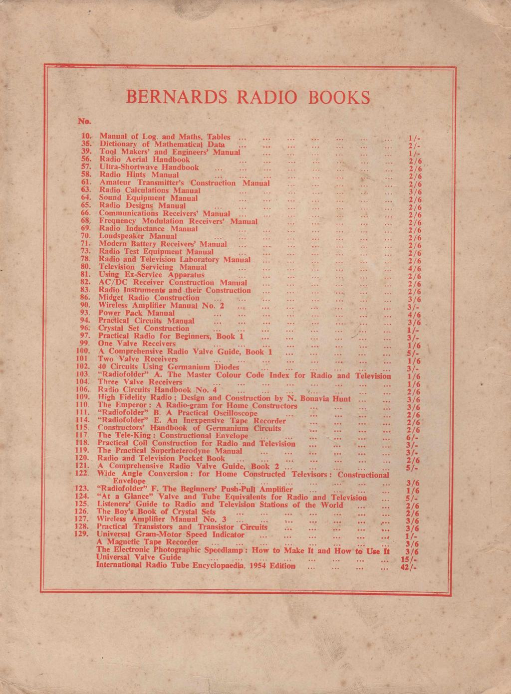BERNARDS RADIO BOOKS No. 10. Manual of Log. and Maths. Tables............... 1 /. 35. Dictionary of Mathematical Data.................. 2/- 39. Tool Makers and Engineers Manual............ 1 /. 56.