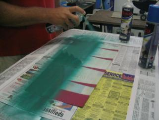 Paint the waxed side of the Mylar with your chosen colour