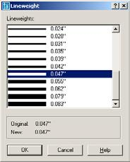 The following are instructions for assigning Lineweights to Layers. FIRST YOU NEED TO CHANGE THE LINEWEIGHT SETTINGS BOX. 1. Select Format / Lineweight. a. Select Inches or millimeters. b.