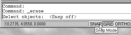 The icon is a picture of an eraser at the end of a pencil.) The message Select objects is displayed in the command prompt area and AutoCAD waits for us to select the objects to erase. 2.