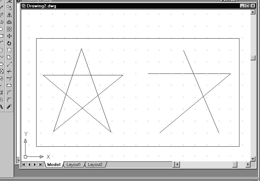 1-10 AutoCAD LT 2002 Tutorial 3. Move the cursor to a location that is above and toward the left side of the entities on the screen. Left-mouse-click once to start a corner of a rubber-band window.