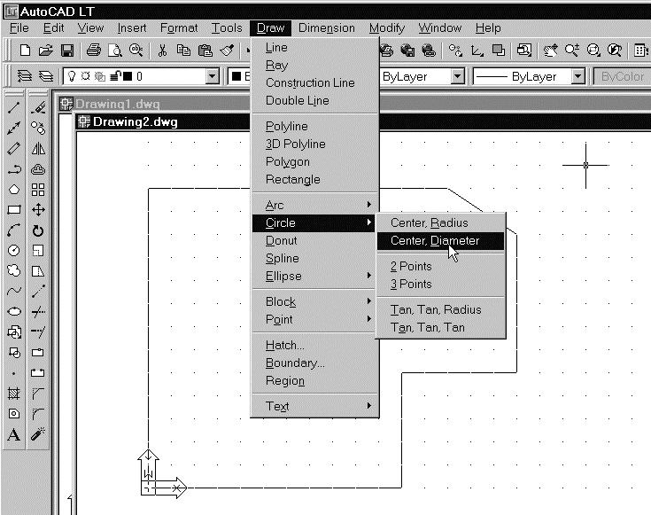 1-18 AutoCAD LT 2002 Tutorial Creating Circles The menus and toolbars in AutoCAD LT 2002 are designed to allow the CAD operators to quickly activate the desired commands.