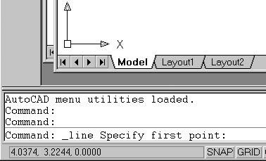 1-4 AutoCAD LT 2002 Tutorial Using the Line command 1. Move the graphics cursor to the first icon in the Draw toolbar. This icon is the Line icon.