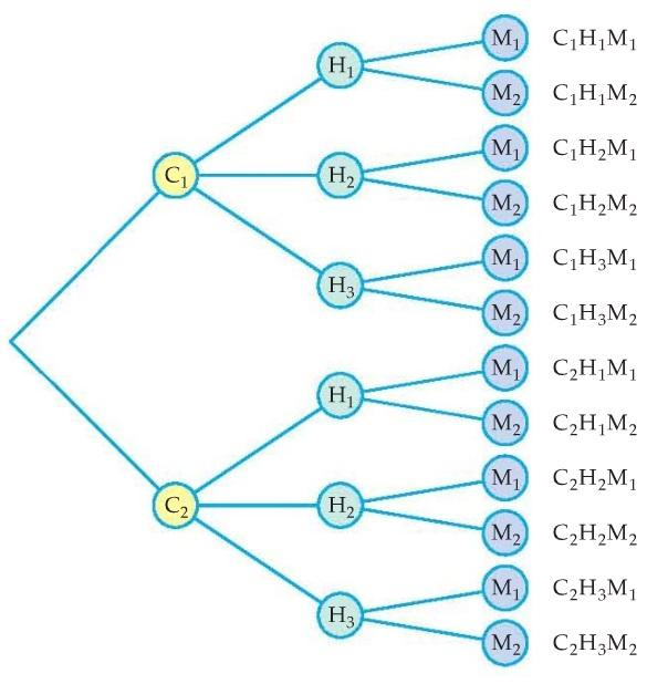 8. A tree diagram is another way to organize the outcomes of a multi-stage experiment. To illustrate the method, consider a computer store that offers a three-component computer system.